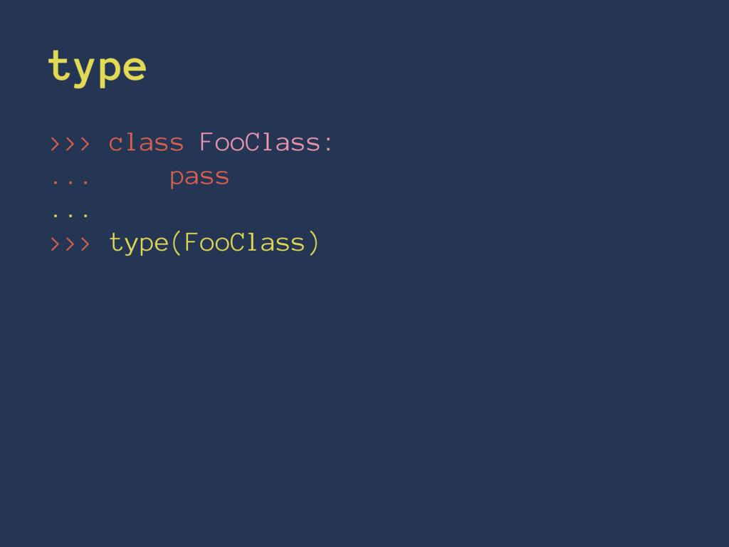 type >>> class FooClass: ... pass ... >>> type(...