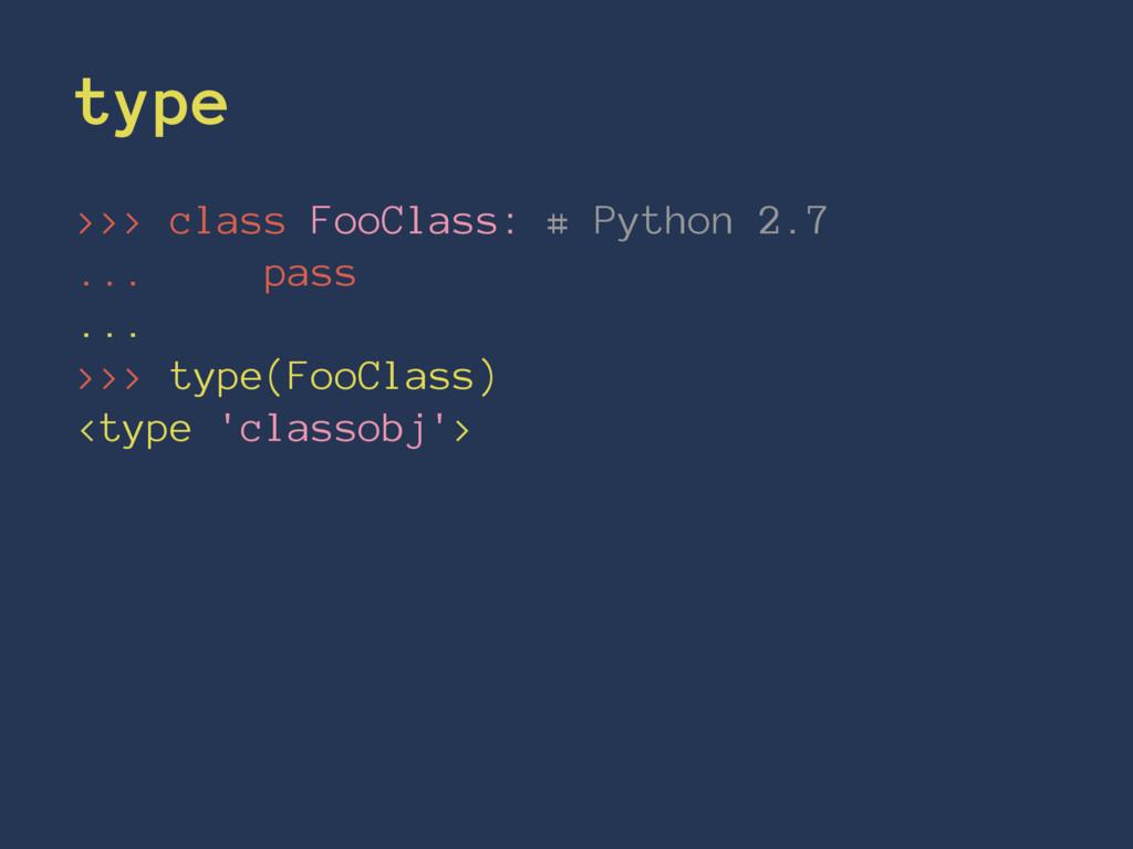 type >>> class FooClass: # Python 2.7 ... pass ...