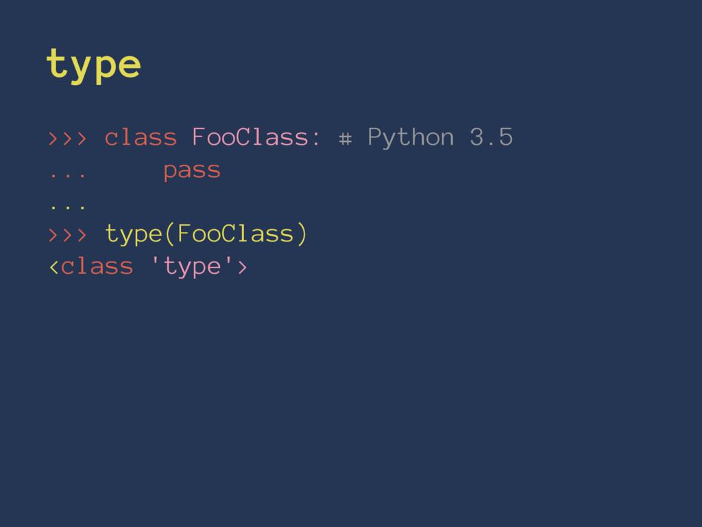 type >>> class FooClass: # Python 3.5 ... pass ...
