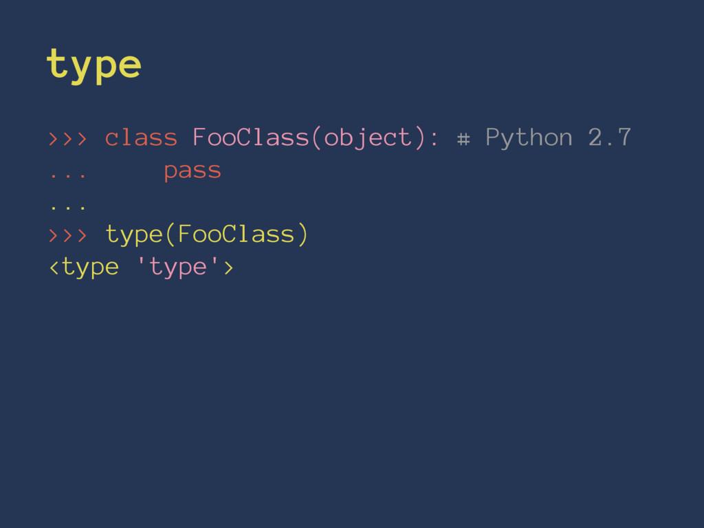 type >>> class FooClass(object): # Python 2.7 ....