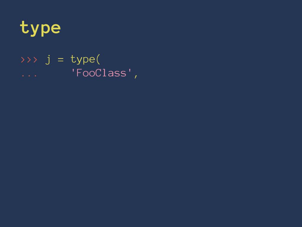 type >>> j = type( ... 'FooClass',