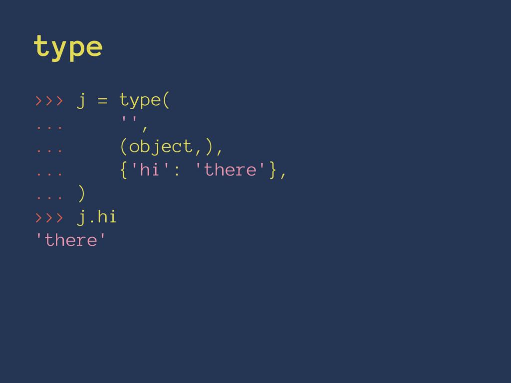 type >>> j = type( ... '', ... (object,), ... {...