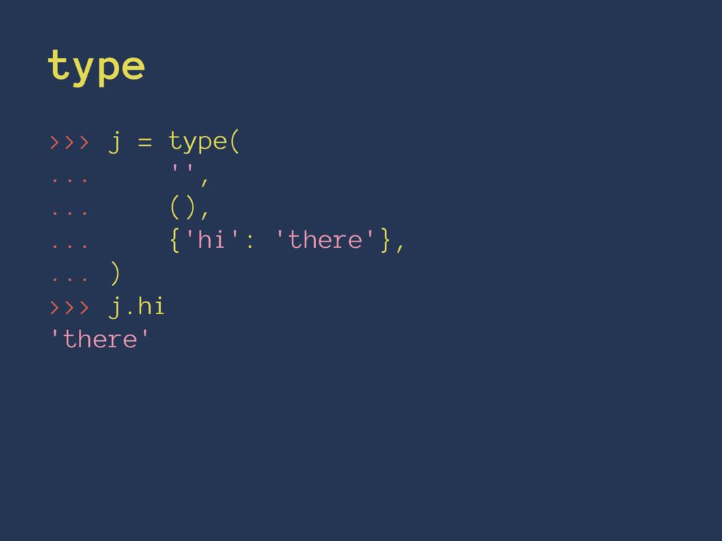 type >>> j = type( ... '', ... (), ... {'hi': '...
