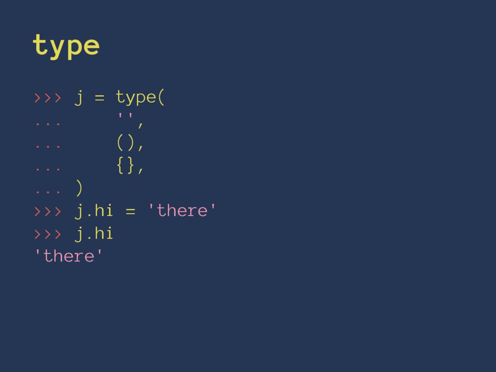 type >>> j = type( ... '', ... (), ... {}, ... ...