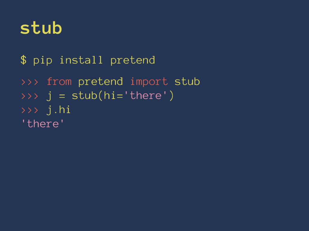 stub $ pip install pretend >>> from pretend imp...