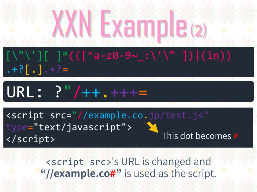 XXN Example [""\'][ ]*(([^a-z0-9~_:'"" ])(in)...
