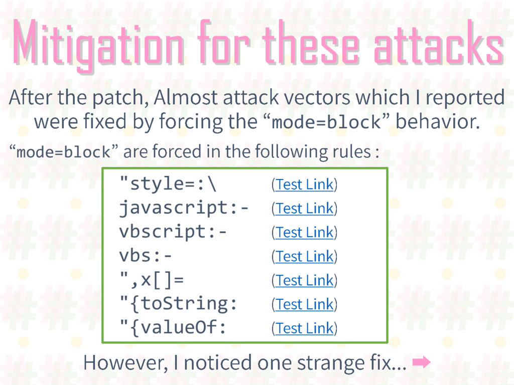 "Mitigation for these attacks mode=block ""style=..."