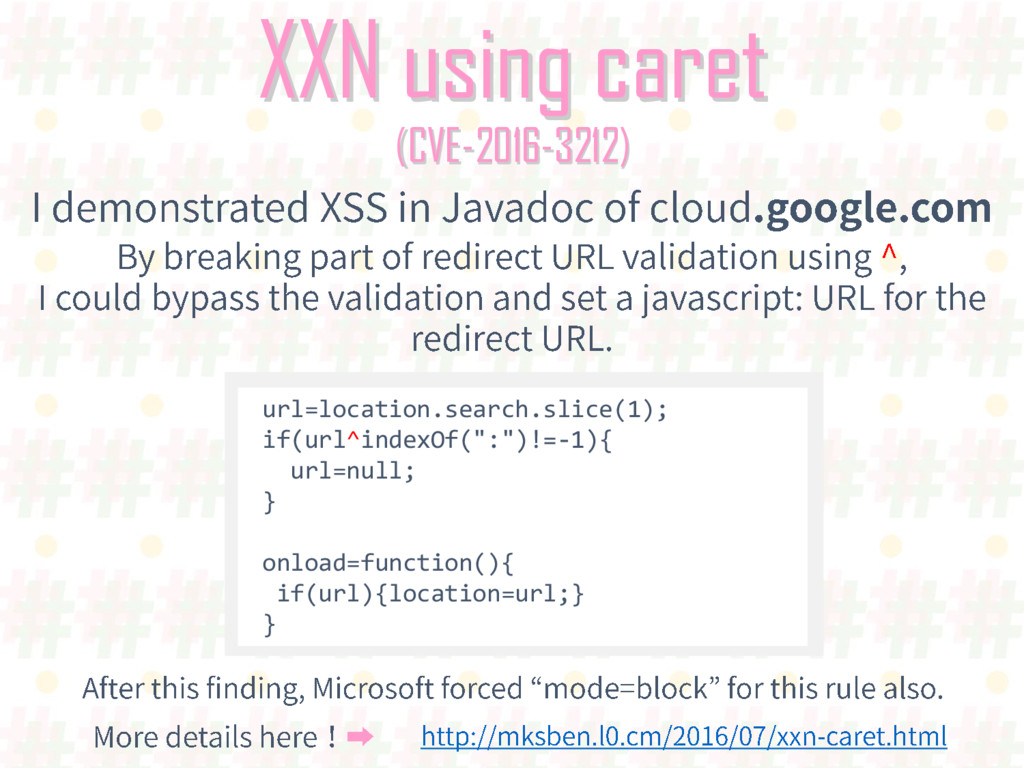 XXN using caret (CVE-2016-3212) url=location.se...