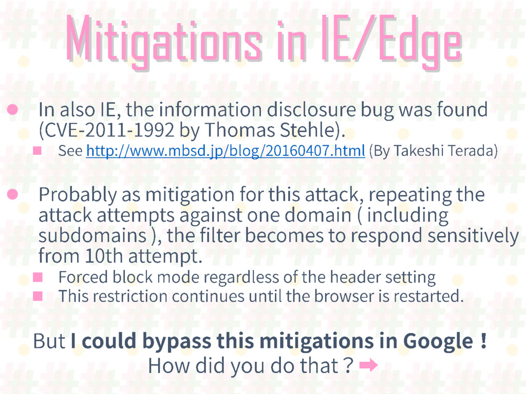 Mitigations in IE/Edge     