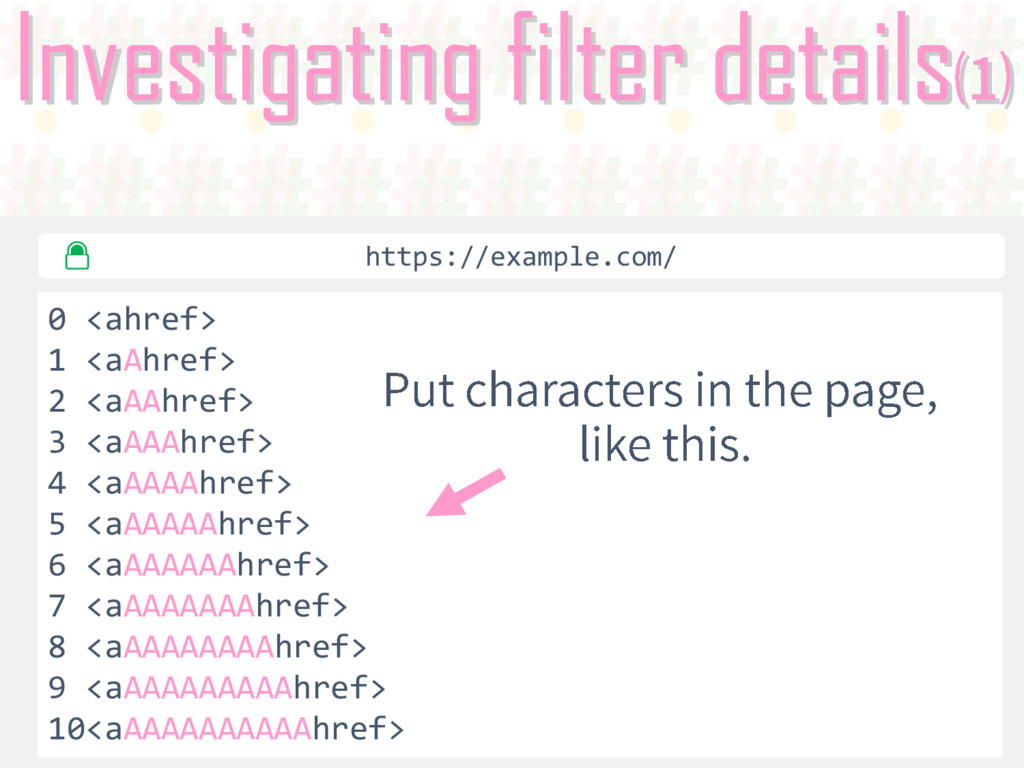 Investigating filter details 0 <ahref> 1 <aAhre...