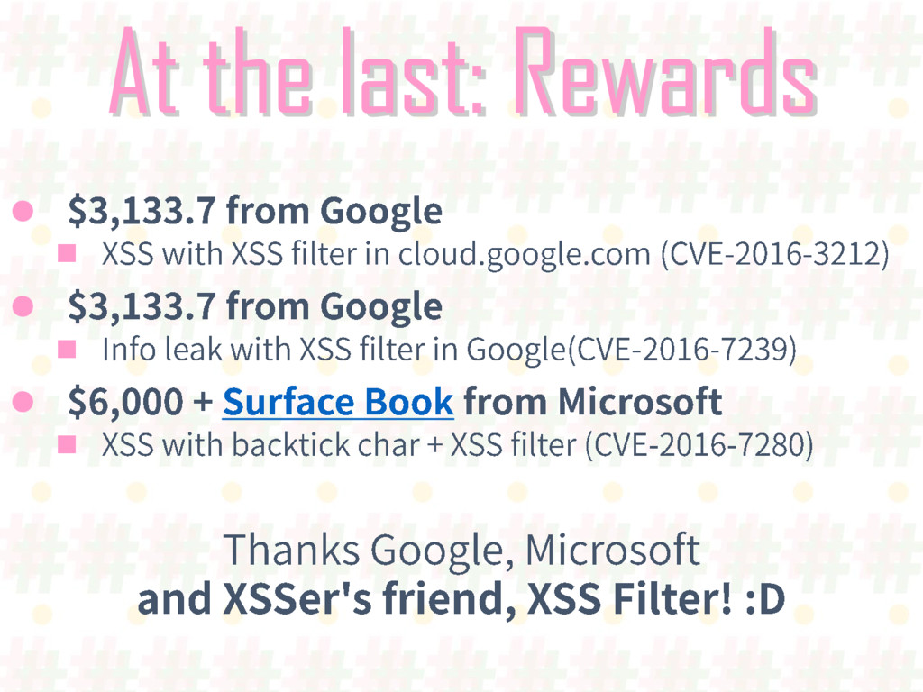 At the last: Rewards      