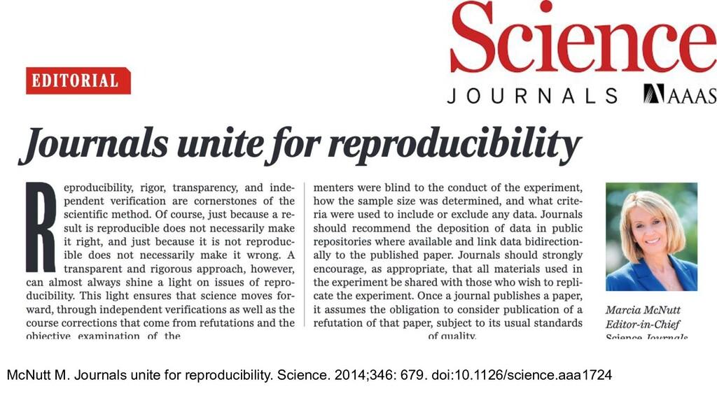 McNutt M. Journals unite for reproducibility. S...