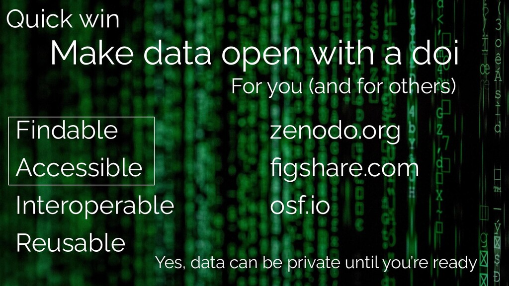 Make data open with a doi Findable Accessible I...
