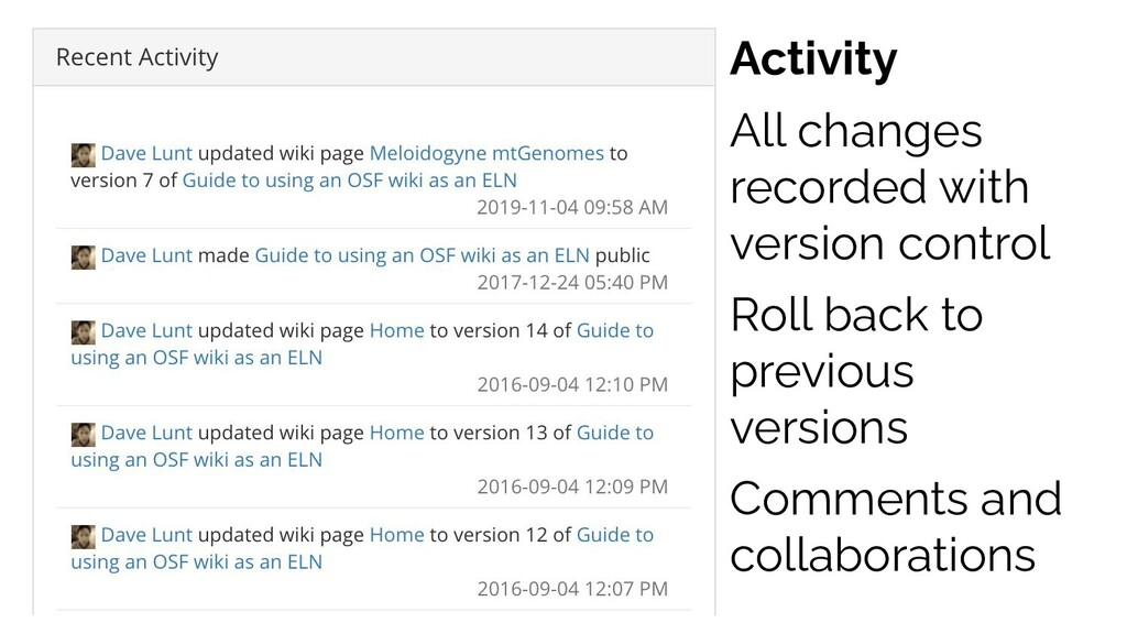 Activity All changes recorded with version cont...