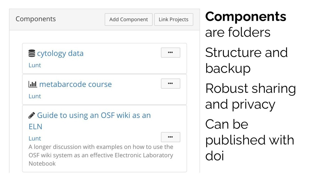 Components are folders Structure and backup Rob...