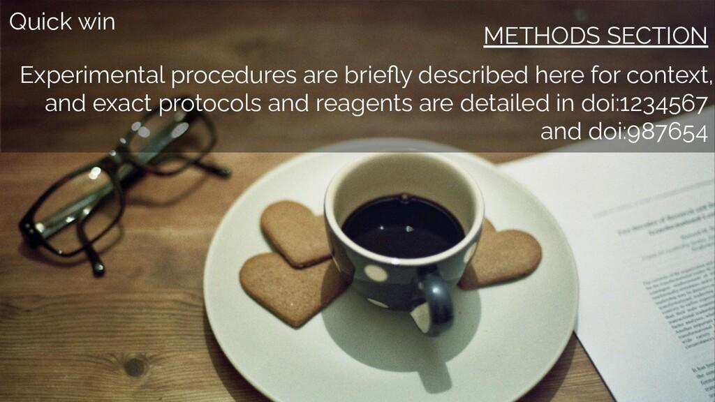 Quick win METHODS SECTION Experimental procedur...
