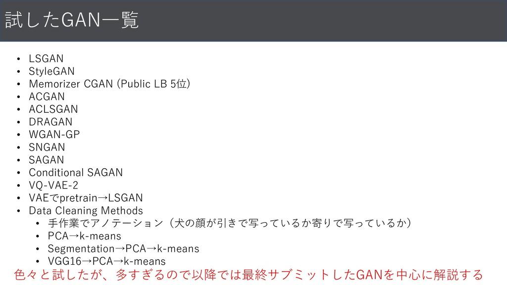 試したGAN一覧 • LSGAN • StyleGAN • Memorizer CGAN (P...