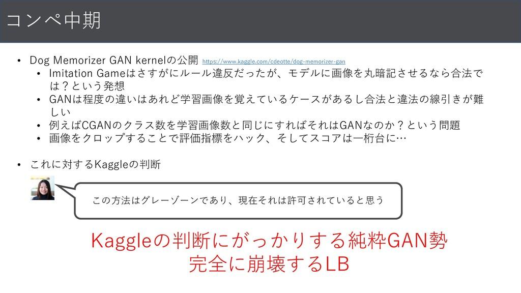 コンペ中期 • Dog Memorizer GAN kernelの公開 • Imitation...