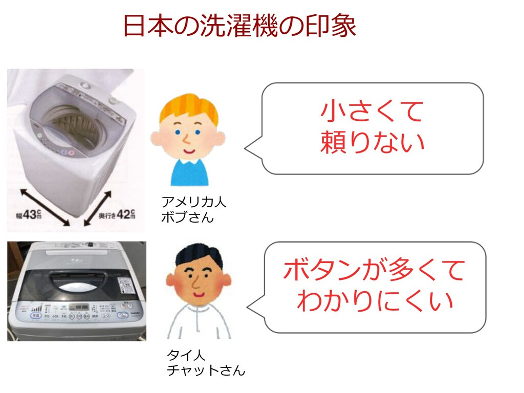 ⽇本の洗濯機の印象 ⼩さくて 頼りない アメリカ⼈ ボブさん タイ⼈ チャットさん ボタンが多...