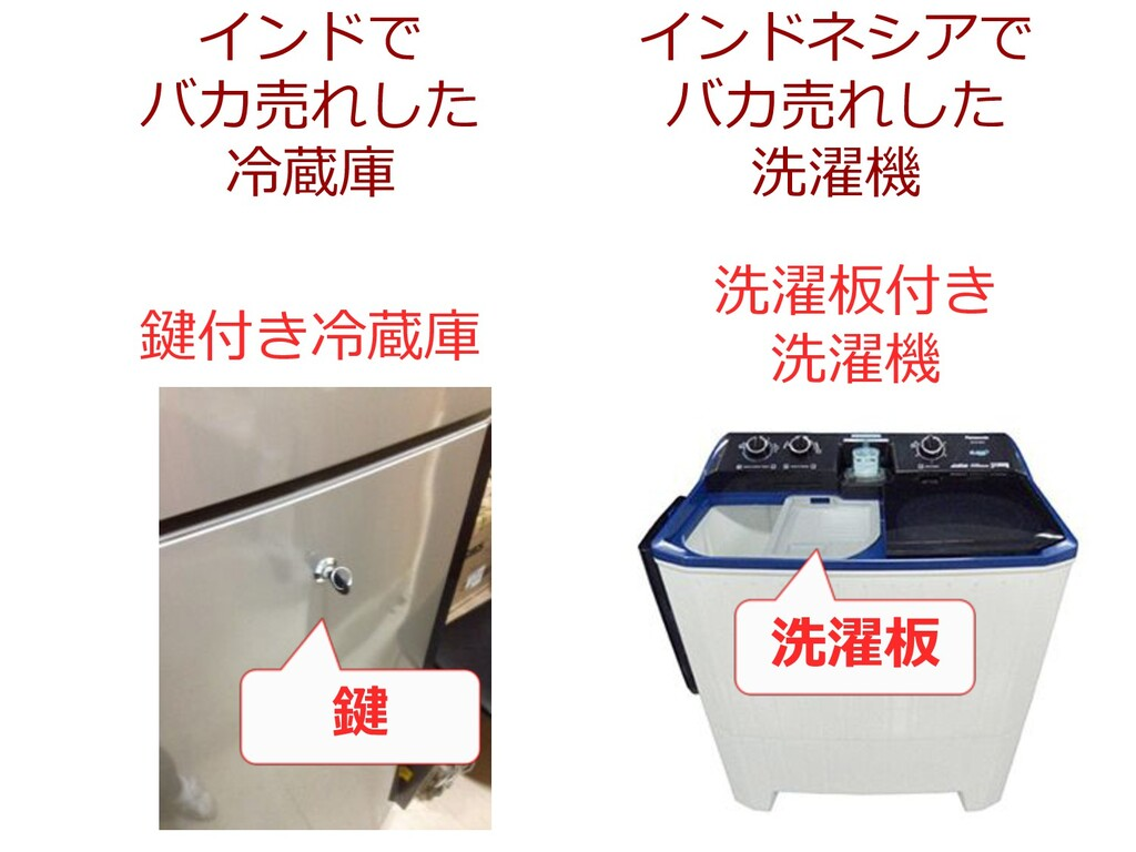 インドで バカ売れした 冷蔵庫 インドネシアで バカ売れした 洗濯機 鍵 鍵付き冷蔵庫 洗濯板...