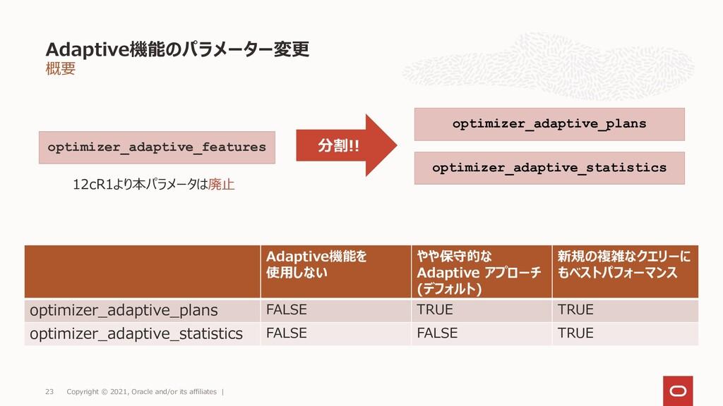 概要 Adaptive機能のパラメーター変更 Copyright © 2021, Oracle...