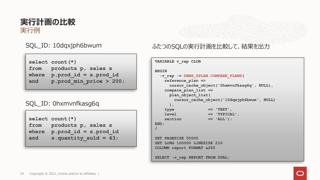 実行例 実行計画の比較 Copyright © 2021, Oracle and/or its...