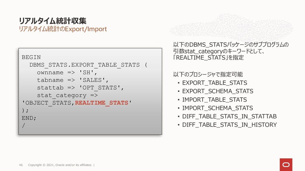 リアルタイム統計のExport/Import リアルタイム統計収集 Copyright © 2...