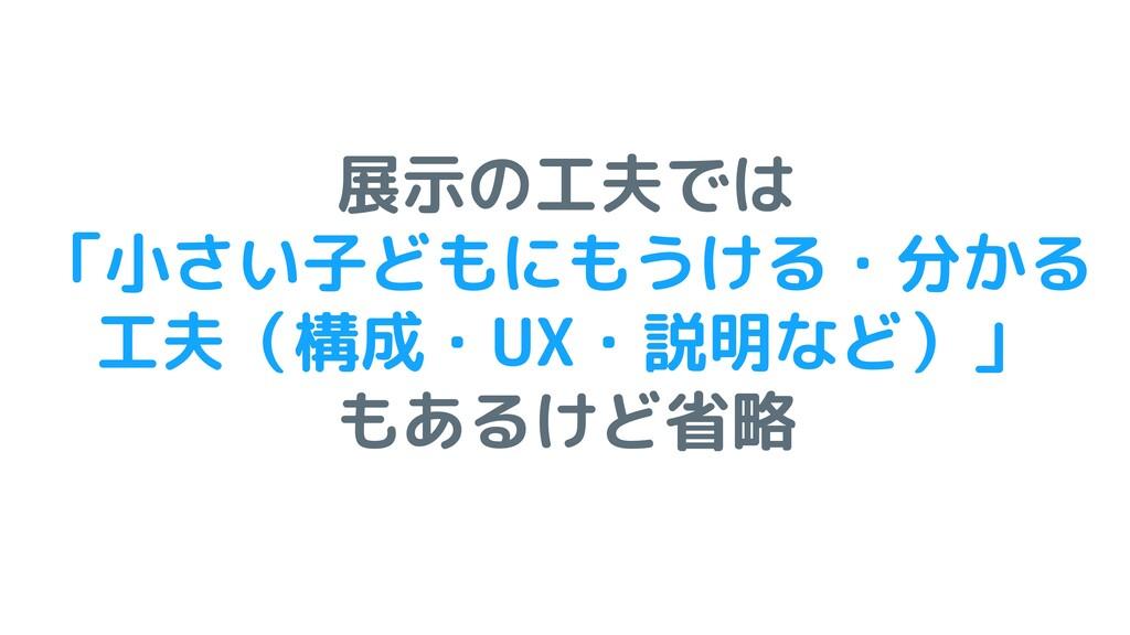 展示の工夫では 「小さい子どもにもうける・分かる 工夫(構成・UX・説明など)」 もあるけど省略
