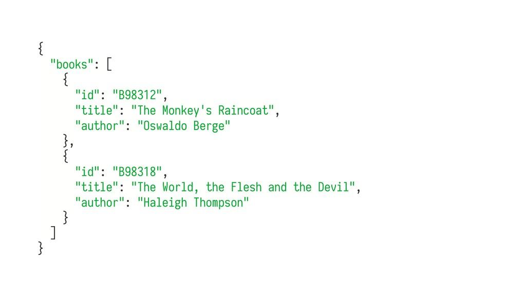 """{ """"books"""": [ { """"id"""": """"B98312"""", """"title"""": """"The Mo..."""