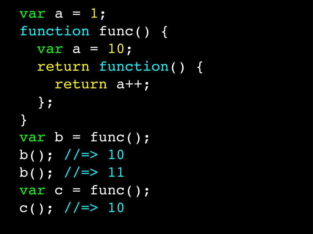 var a = 1; function func() { var a = 10; return...