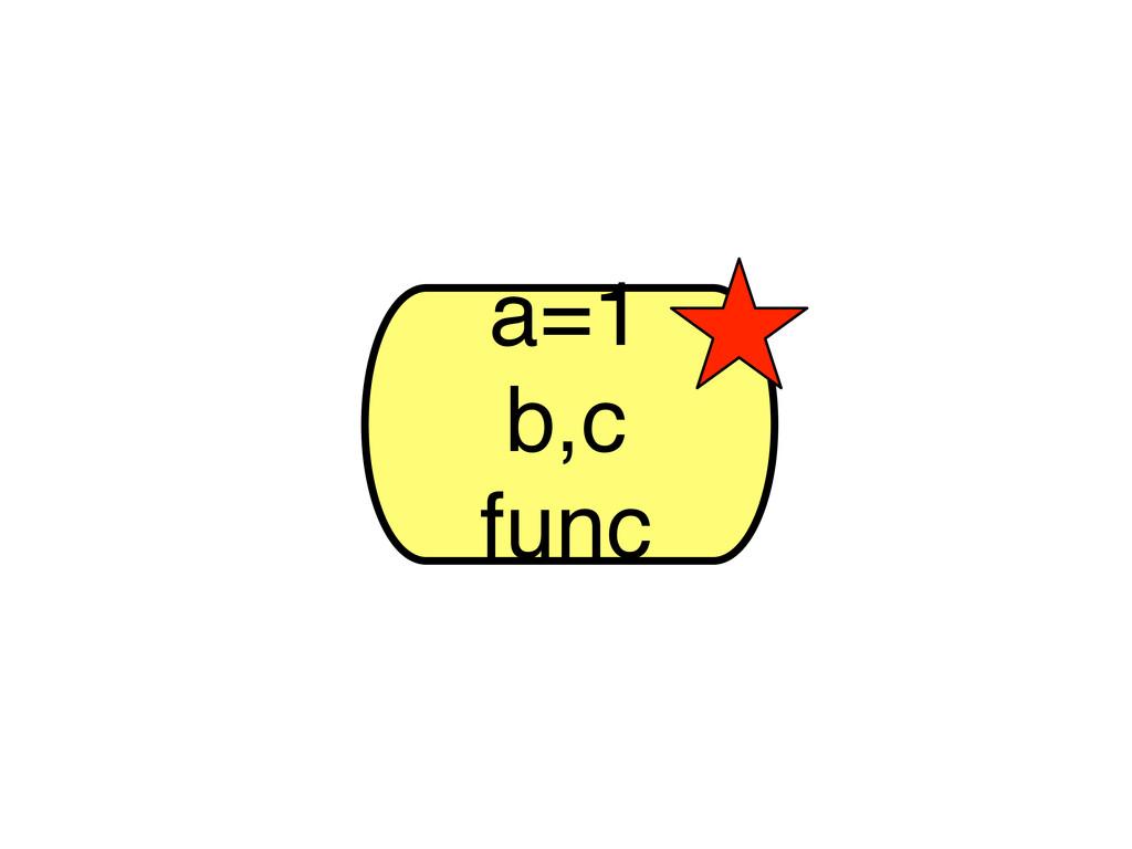 a=1 b,c func