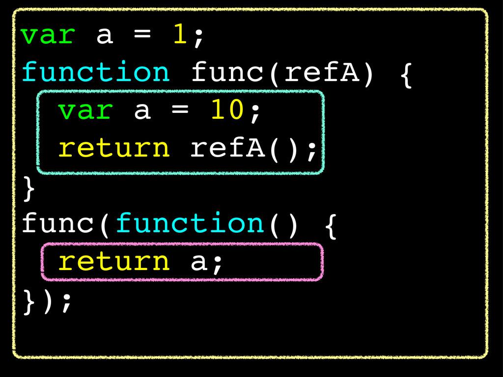 var a = 1; function func(refA) { var a = 10; re...