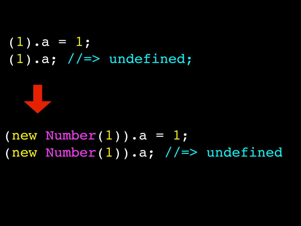 (1).a = 1; (1).a; //=> undefined; (new Number(1...