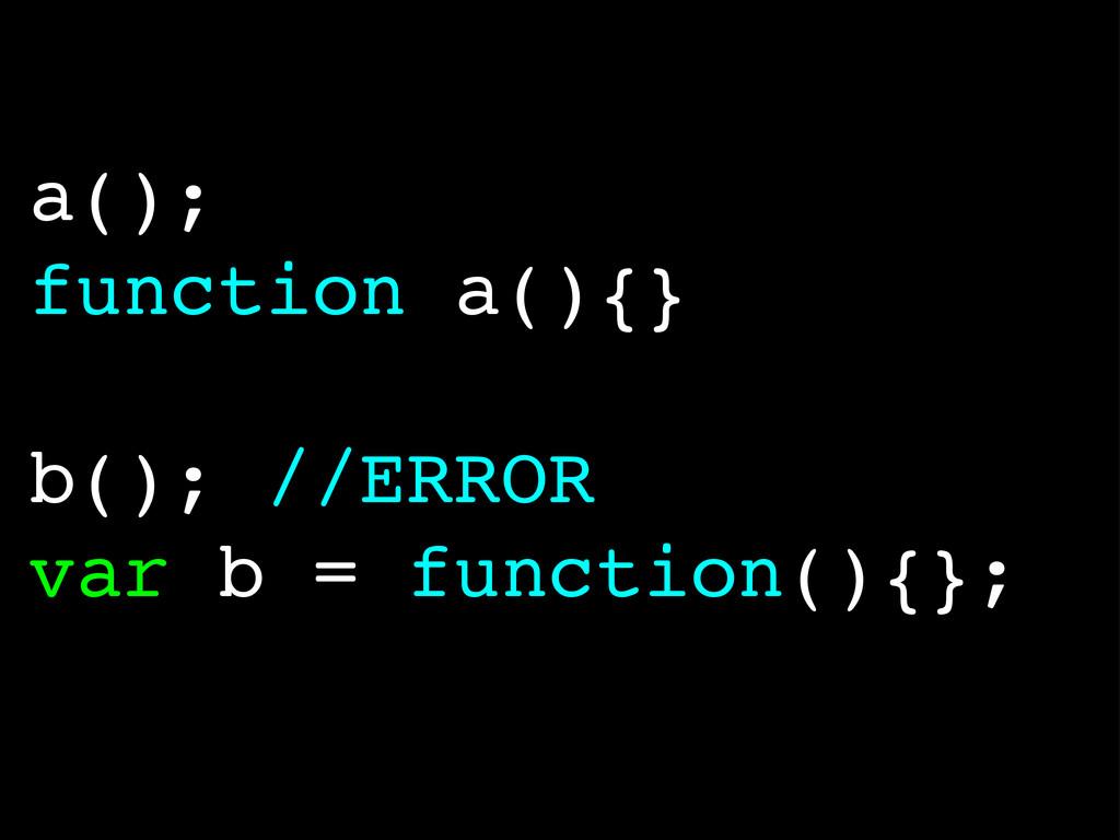 a(); function a(){} b(); //ERROR var b = functi...
