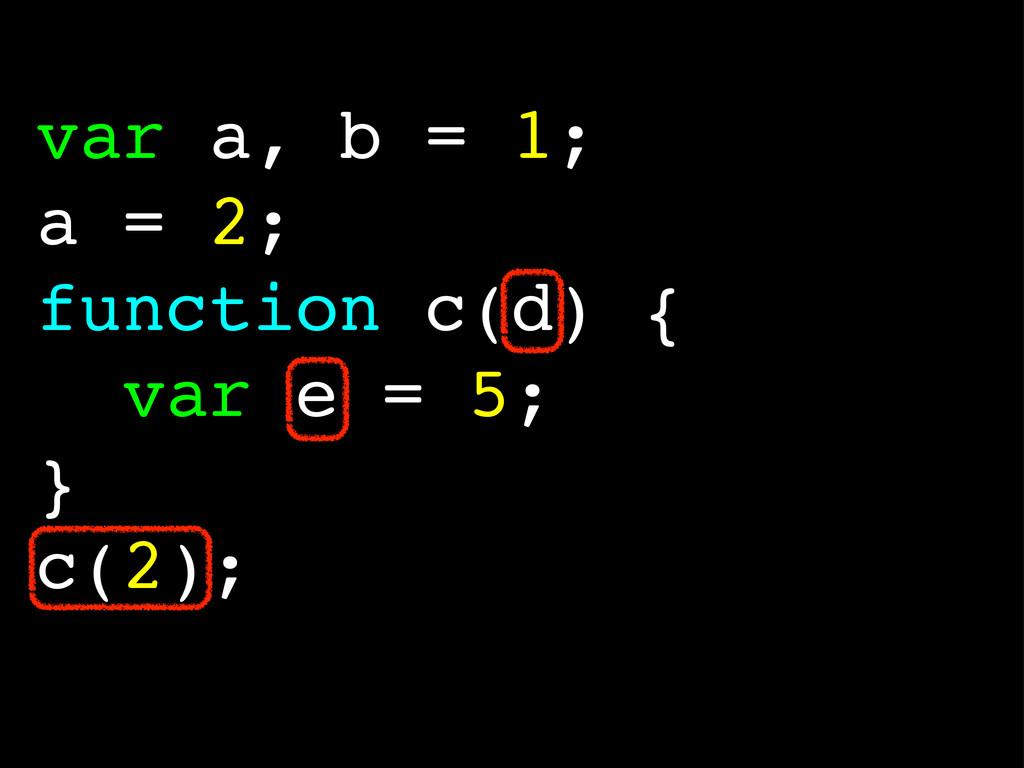 var a, b = 1; a = 2; function c(d) { var e = 5;...