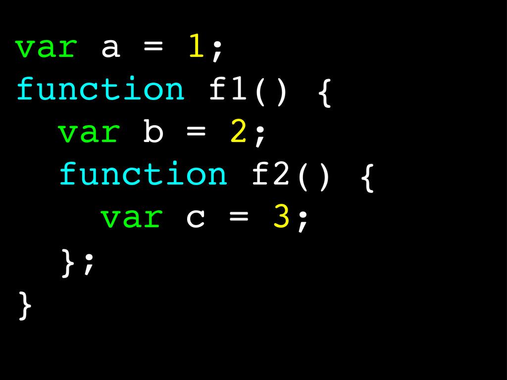 var a = 1; function f1() { var b = 2; function ...