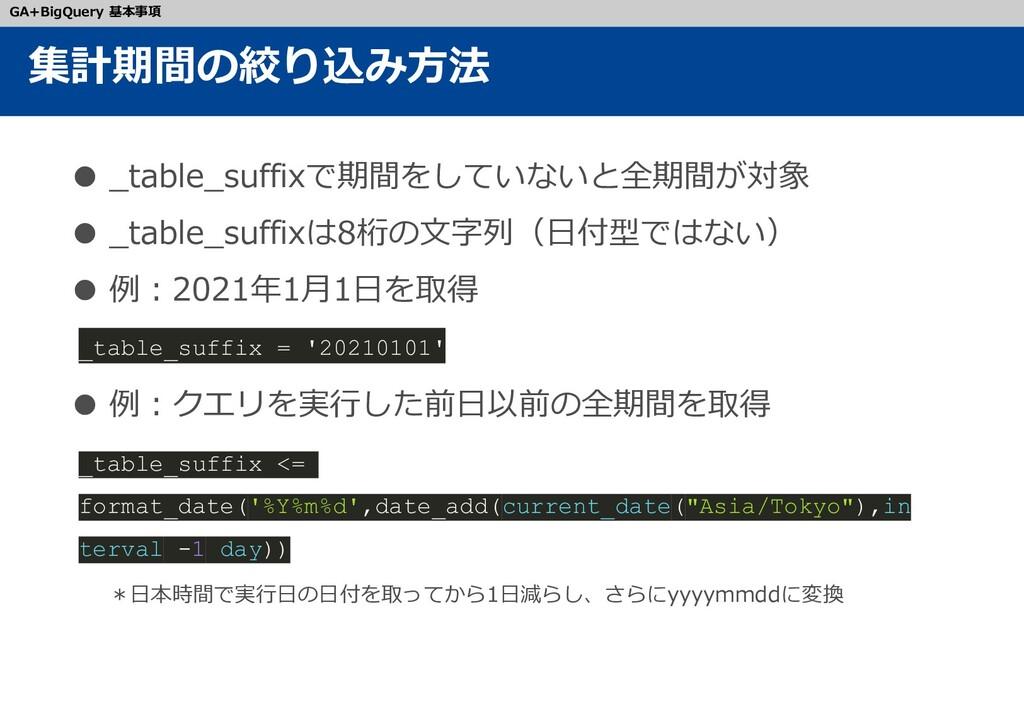 ● _table_suffixで期間をしていないと全期間が対象 ● _table_suffix...