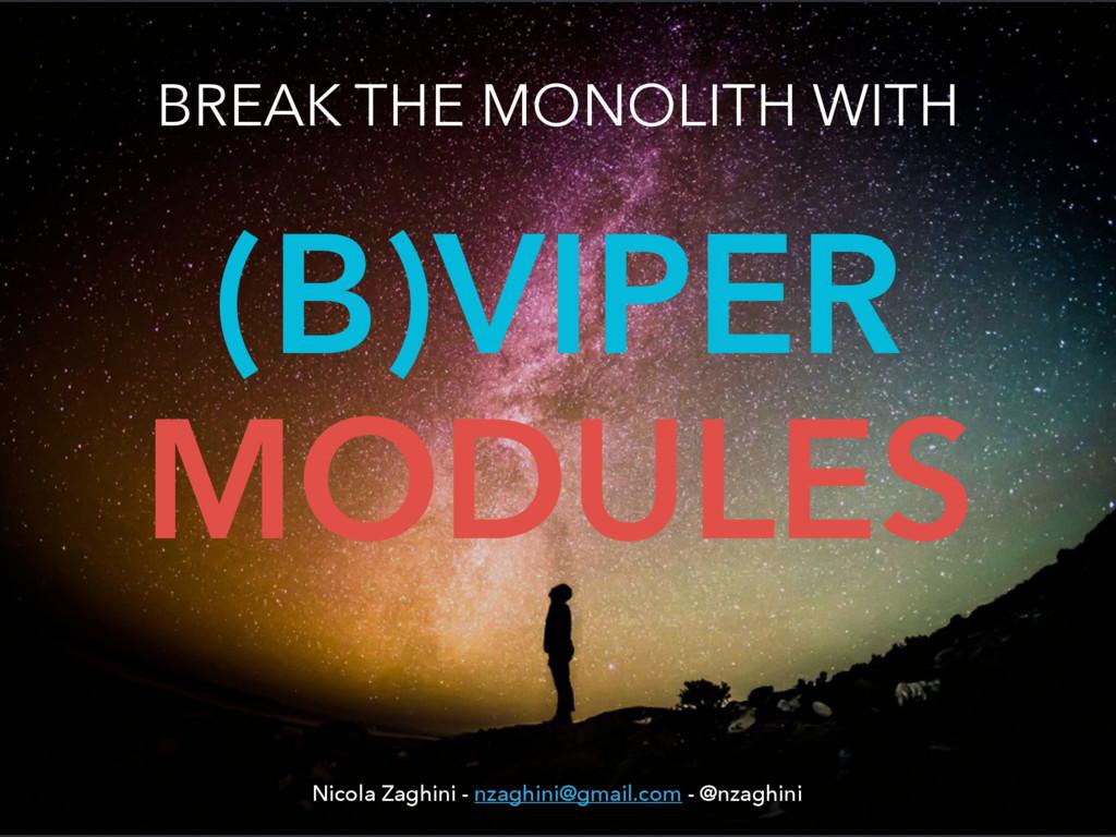 (B)VIPER MODULES BREAK THE MONOLITH WITH Nicola...