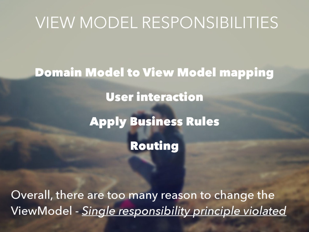 Domain Model to View Model mapping User interac...