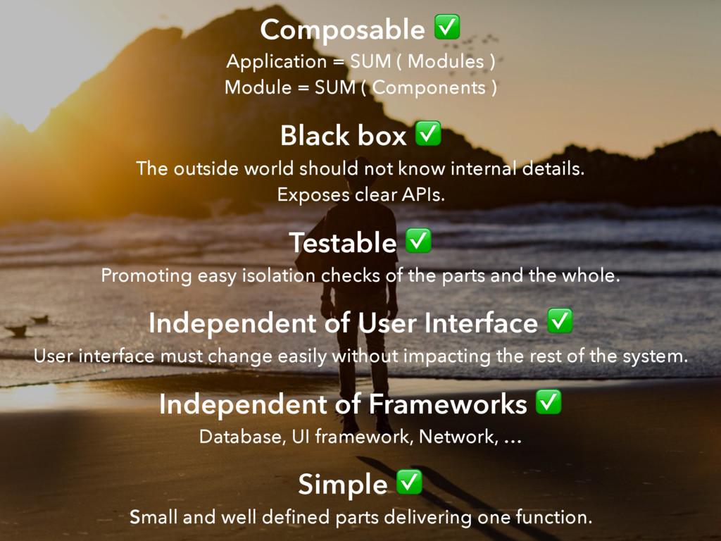 Composable ✅  Application = SUM ( Modules ) M...