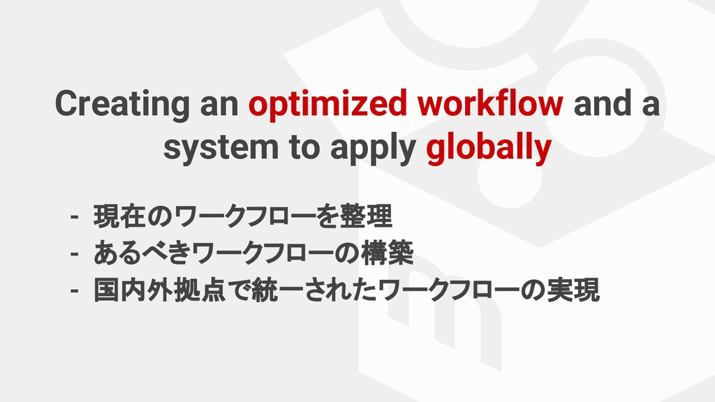 Creating an optimized workflow and a system to ...