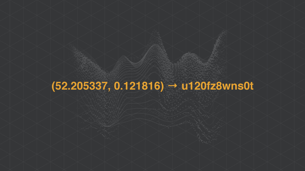 (52.205337, 0.121816) → u120fz8wns0t