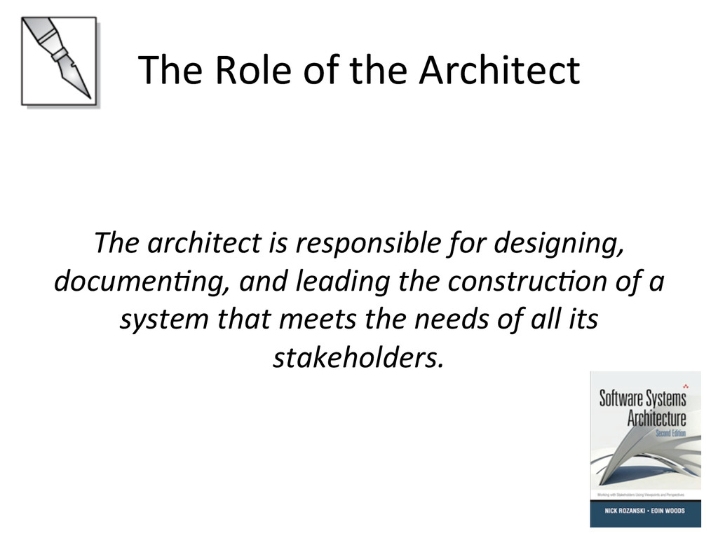 The Role of the Architect    ...