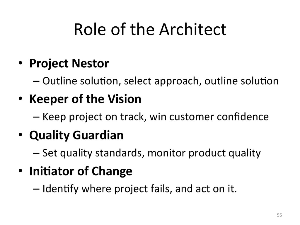 Role of the Architect  • Project...