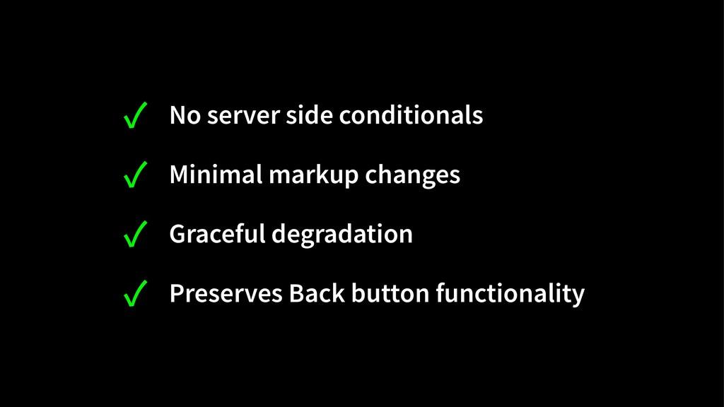 ✓ No server side conditionals ✓ Minimal markup ...