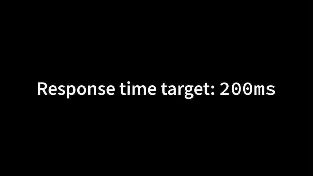 Response time target: 200ms