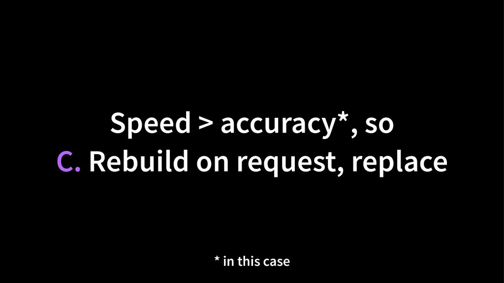 Speed > accuracy*, so C. Rebuild on request, re...