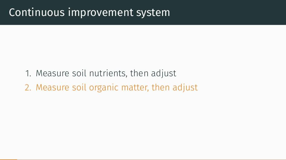 Continuous improvement system 1. Measure soil n...