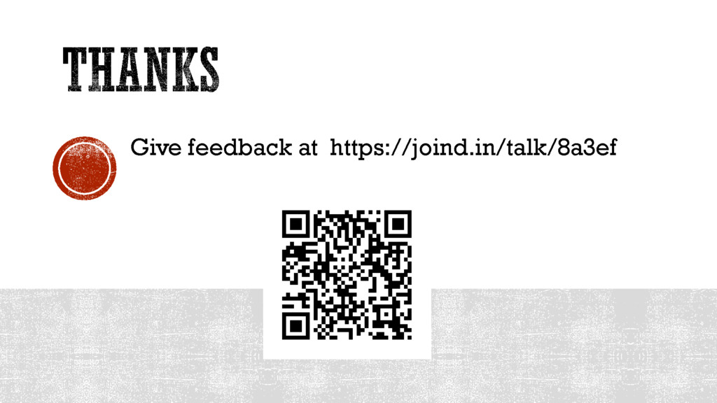 Give feedback at https://joind.in/talk/8a3ef