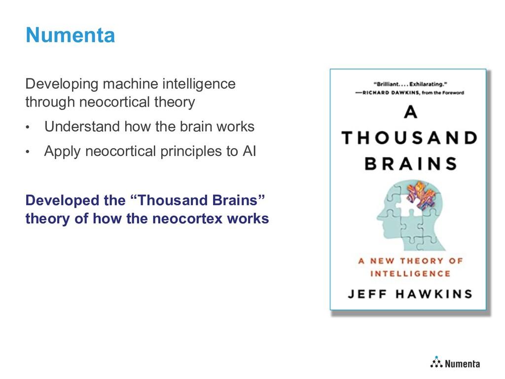 Numenta Developing machine intelligence through...
